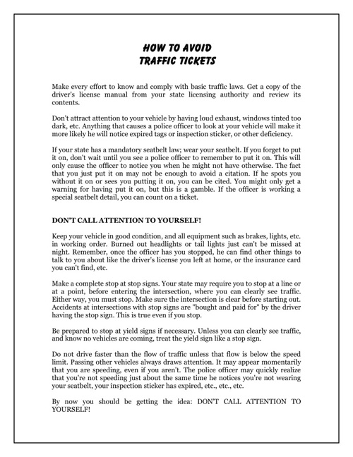 How To Avoid Traffic Tickets