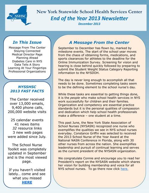 NYSSHSC December Newsletter