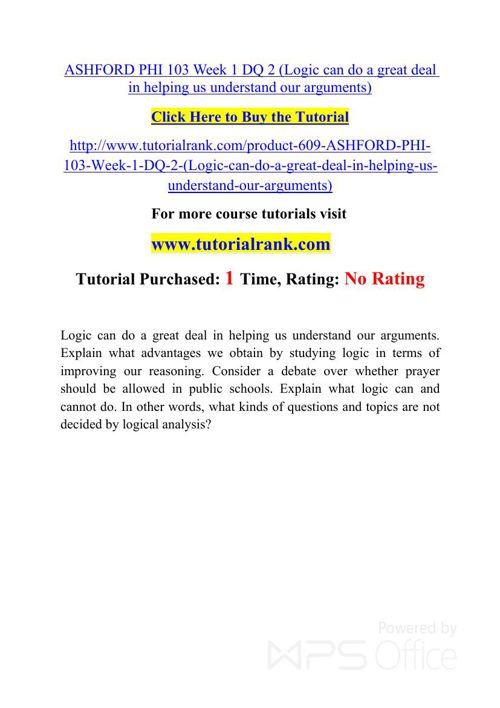 PHI 103 Potential Instructors / tutorialrank.com