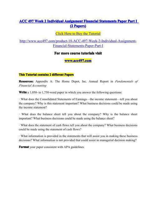 ACC 497 Week 2 Individual Assignment Financial Statements Paper