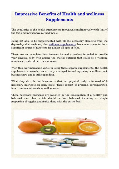 Impressive Benefits of Health and wellness Supplements