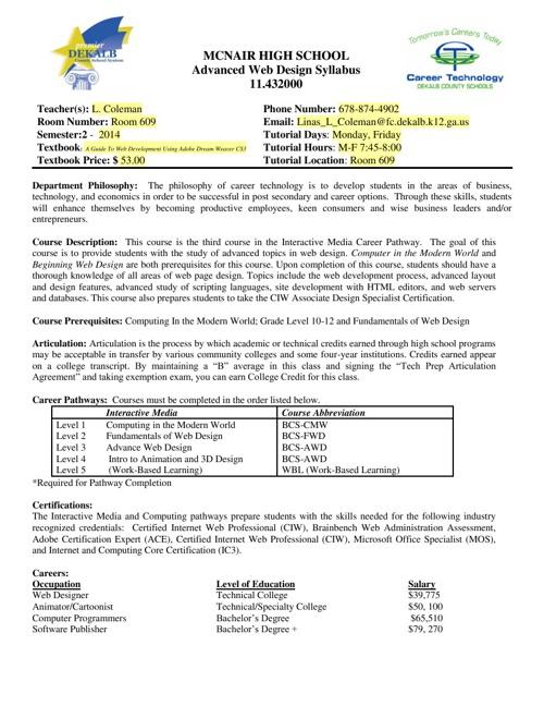 Coleman's Course Documents