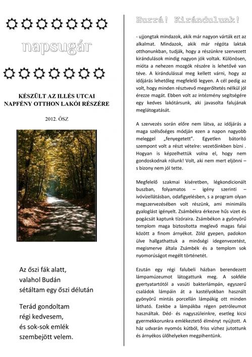 Napsugár újság - 2012 őszi szám