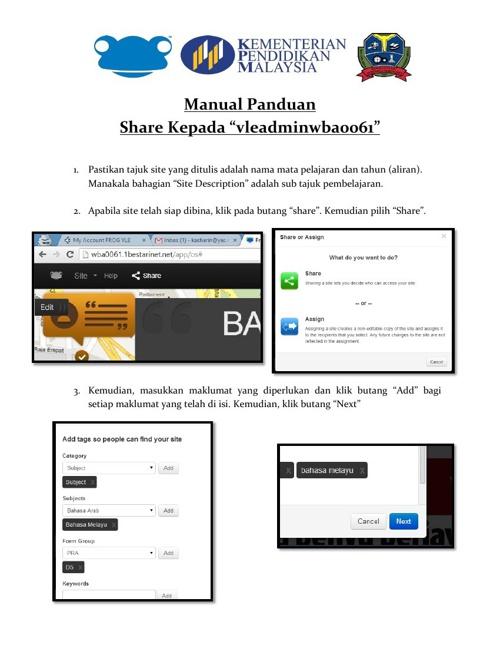 Manual Panduan Share Site PdP kepada VLEAdmin WBA0061