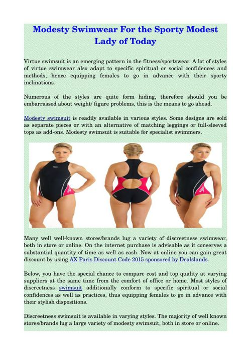 Modesty Swimwear For the Sporty Modest Lady of Today
