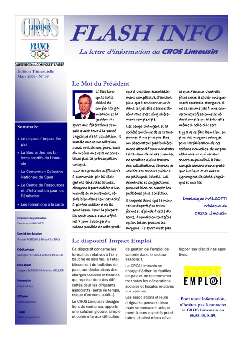 Flash Info N° 39 - Mars 2006