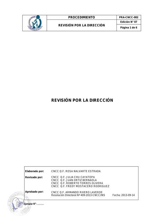 PRA-CNCC-002 Revisión por la Dirección (Ed 07)