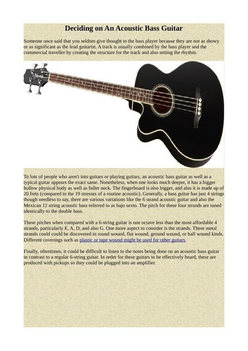 Deciding on An Acoustic Bass Guitar