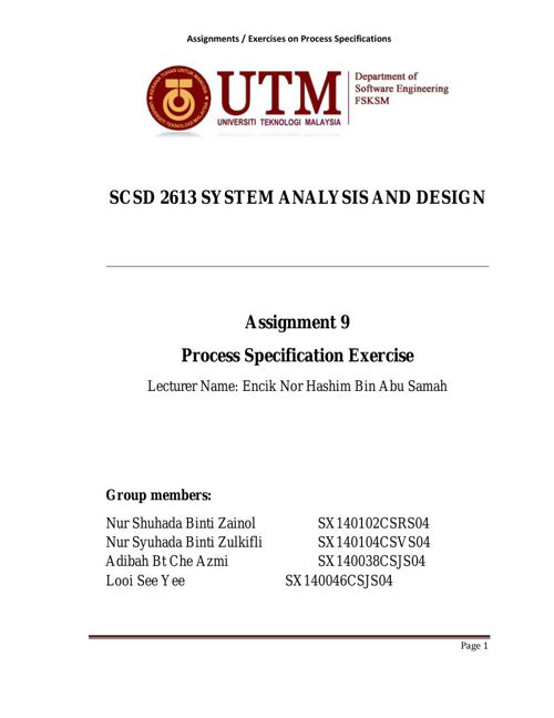 SCSD2613 Assignment 9 - Process Specification