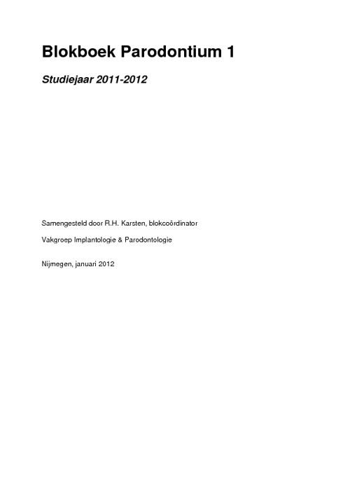 Parodontium 1, 2011-2012