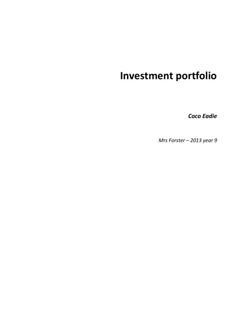 Investment Portfolio - Coco Eadie year 9