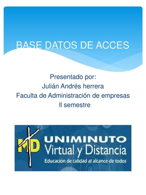 BASE DE DATOS DE ACCES