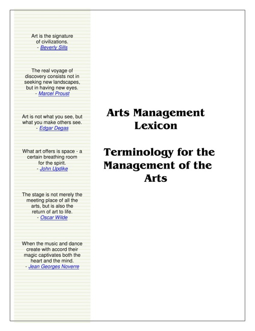 Arts Management Lexicon 2013