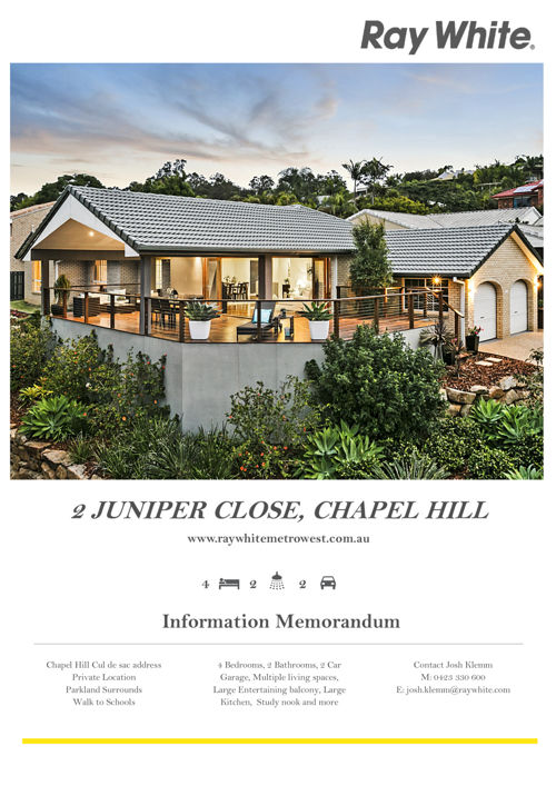 Information Memorandum - 2 Juniper Close, Chapel Hill