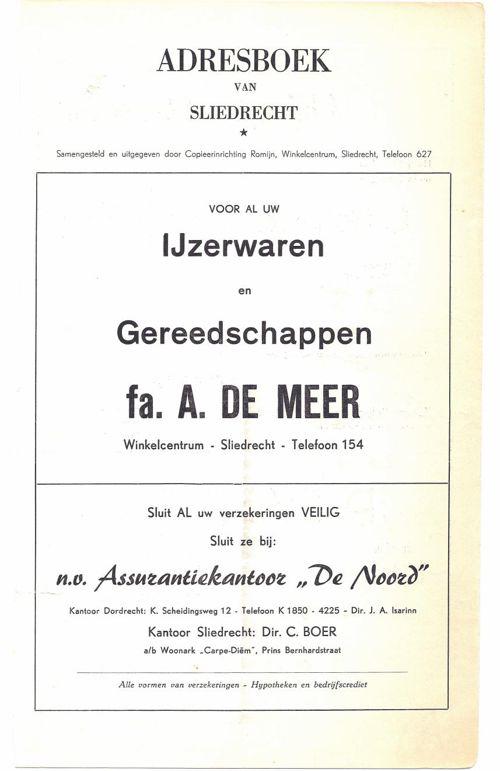 Adresboek van Sliedrecht 1956