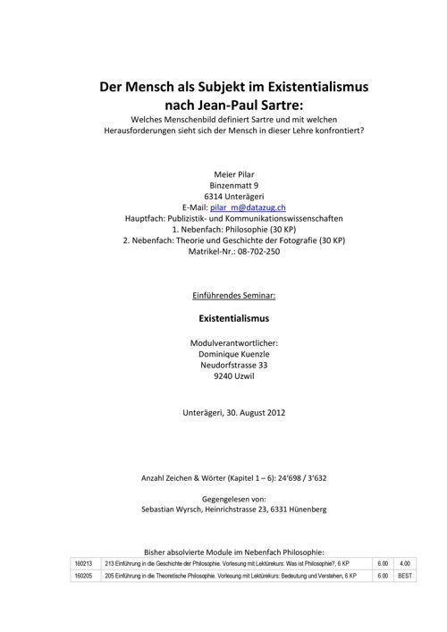 Der Mensch als Subjekt im Existentialismus nach Jean-Paul Sartre