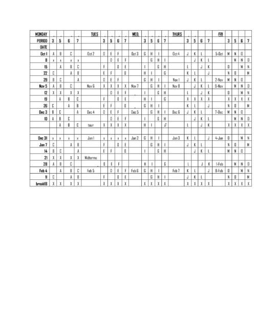 SCHEDULE 2012-2013