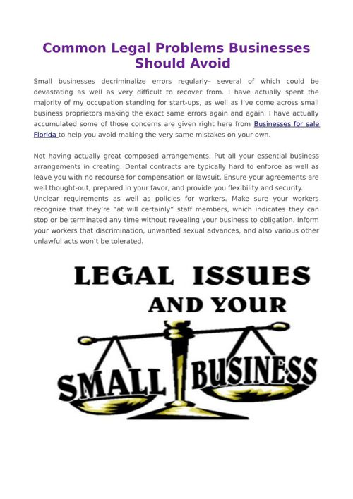 Common Legal Problems Businesses Should Avoid