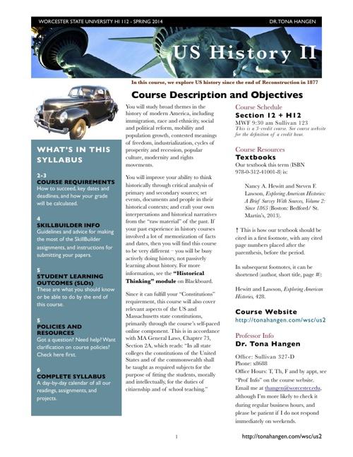 HI 112 US History II Spring 2014