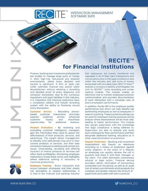 RECITE for Financial Institutions