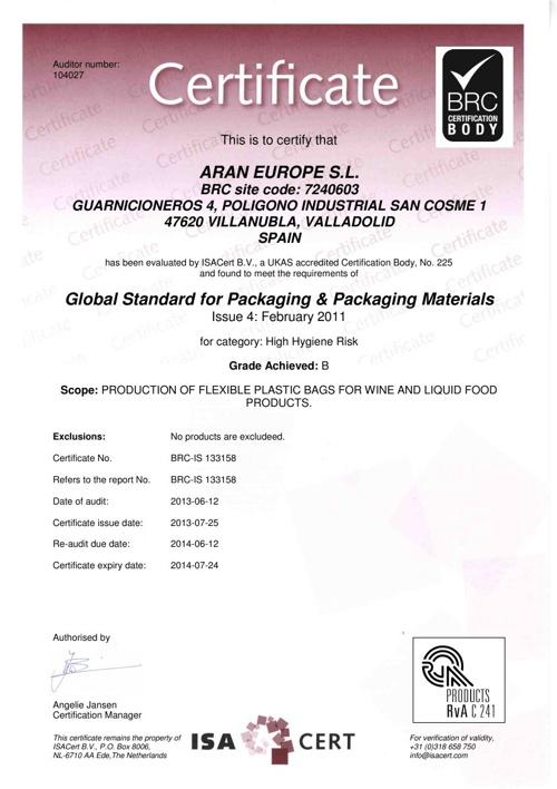 Aran Europe Certificates