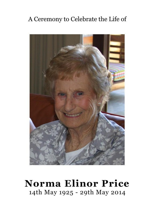 4 Order of Service for Norma Ellinor Price