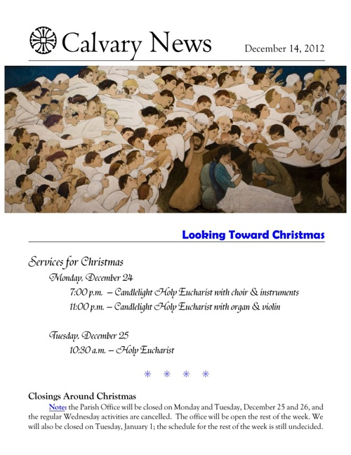 14 December 2012 Calvary Episcopal Newsletter