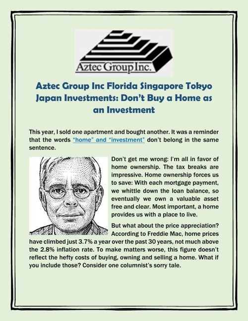 Aztec Group Inc Florida Singapore Tokyo Japan Investments: Don't