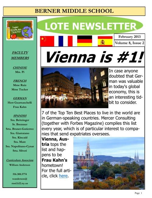 Berner LOTE Newsletter February 2013