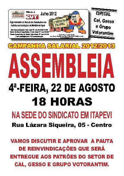 Assembléia Agosto 2012 - Cal, Gesso e GV
