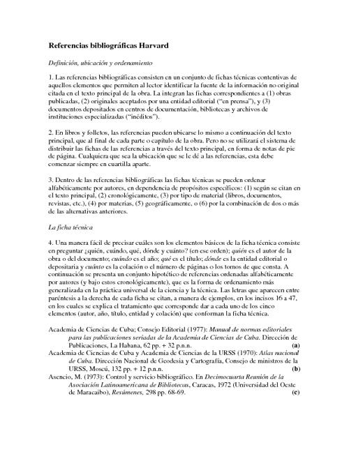Referencias bibliográficas Harvard
