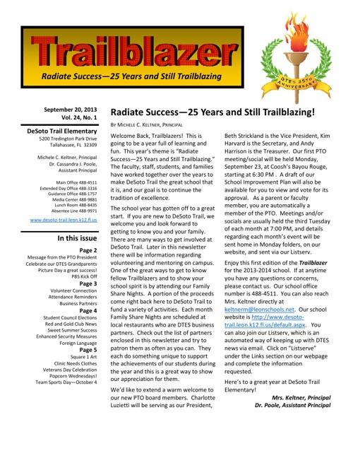 September 2013 Trailblazer Newsletter