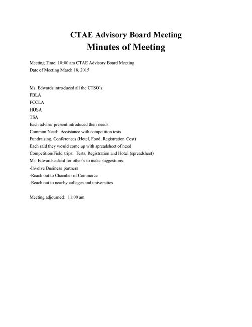 CTAE Advisory Board Meeting Minutes March 2015