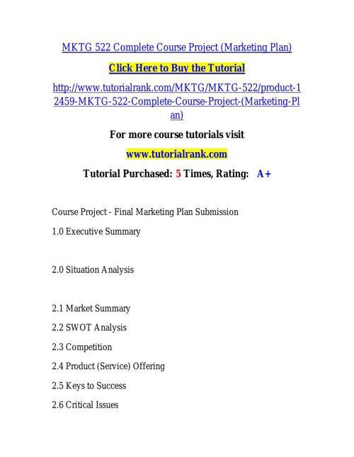 MKTG 522 learning consultant - tutorialrank.com
