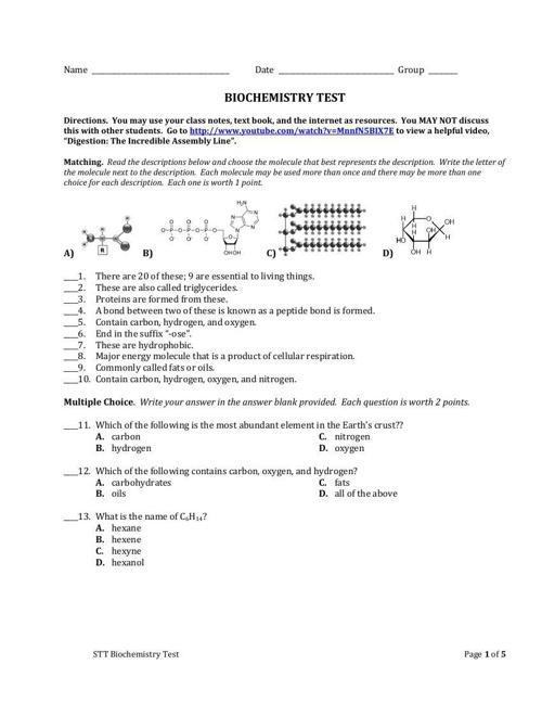 Final Biochem Quiz - REVISED