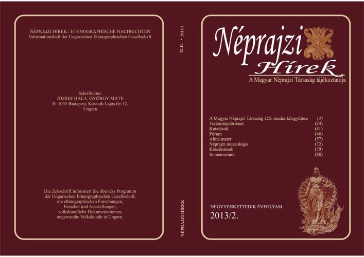 Néprajzi Hírek 2013/2. szám