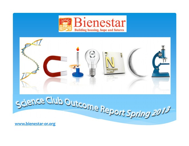 Science Club Outcome Report Spring 2013