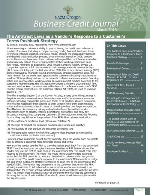 March 2015 NACM Oregon Business Credit Journal