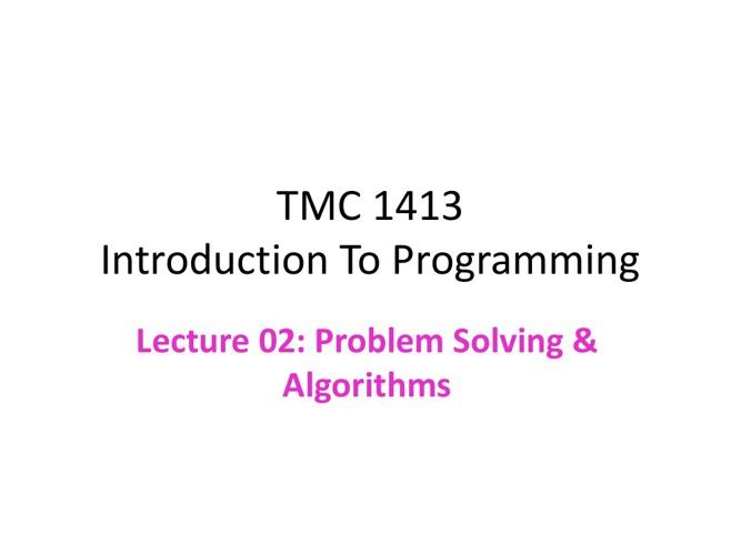 Chapter02:Problem Solving & Algorithms