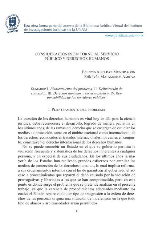 Consideraciones en   torno al servicio público y derechos humano