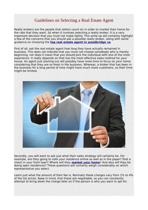 Guidelines on Selecting a Real Estate Agent