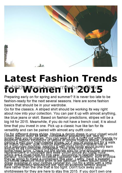 Latest Fashion Trends for Women in 2015