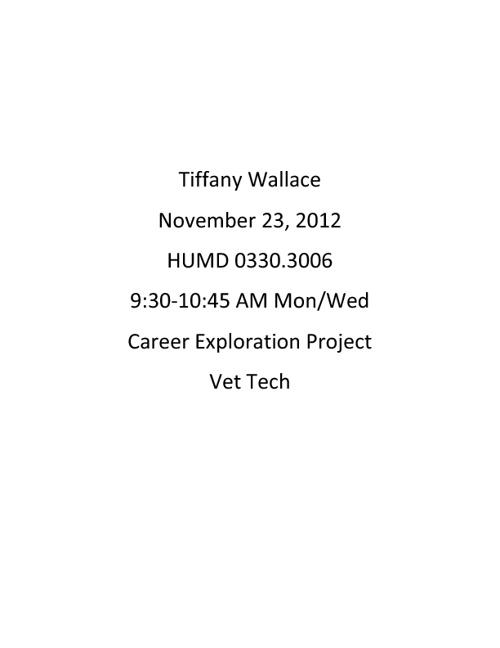 Tiffany Wallace Career Projecy