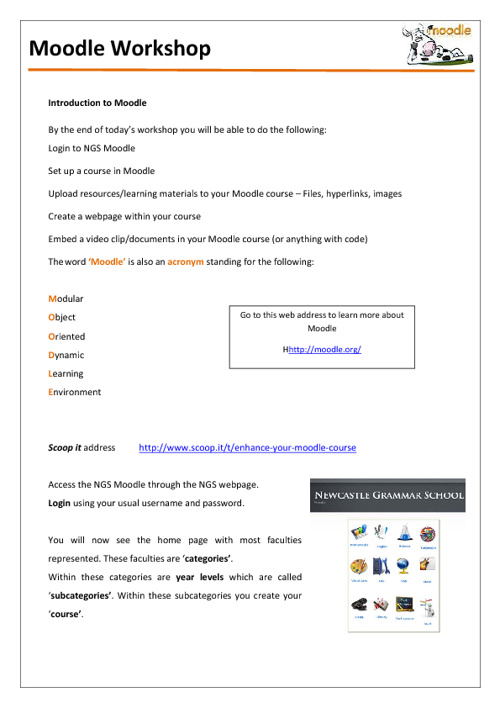 Introduction to Moodle  handout