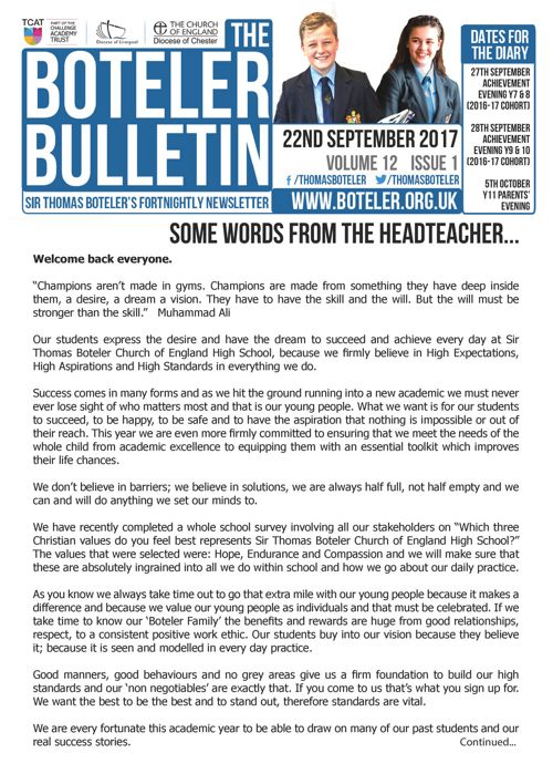Boteler Bulletin 22nd September 2017