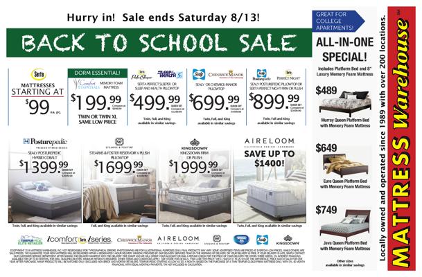 mattress warehouse back to school sale