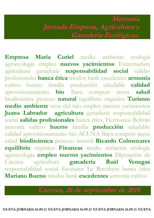 Jornada Empresa, Agricultura y Ganadería Ecológicas 2010