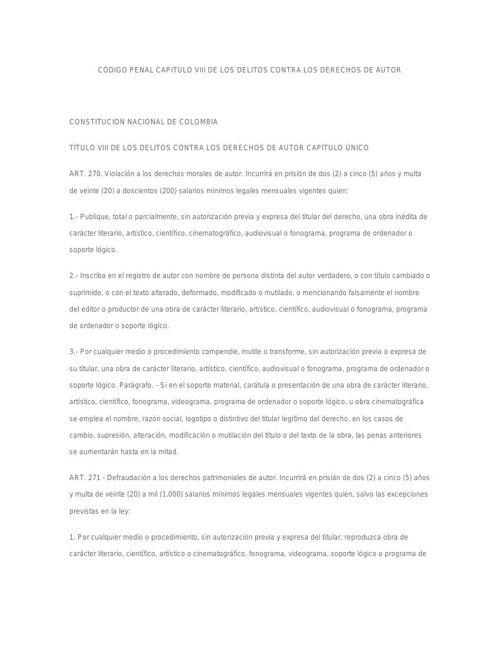 CÓDIGO PENAL CAPITULO VIII DE LOS DELITOS CONTRA LOS DERECHOS DE