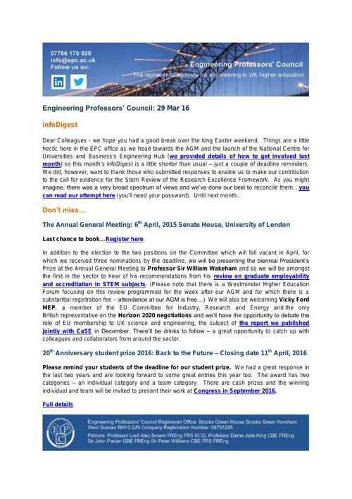 Engineering Professors' Council infoDigest 29 Mar 16