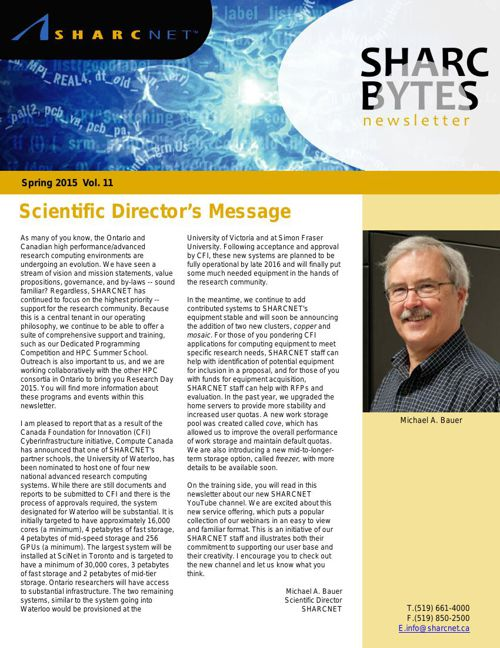 SHARC Bytes Newsletter, Spring 2015, Vol. 11